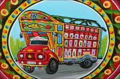 While Truck Art is also found in regions of South America and India, the designs don't hold a candle to the elaborate work that can be seen so commonly on the streets of Pakistan. Truck Art Pakistan, Pakistan Art, Karachi Pakistan, Monster Truck Birthday, Monster Trucks, Cultural Crafts, Truck Paint, Art Thou, Truck Design