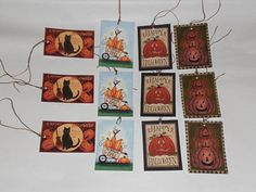 12 Primitive Whimsical Hang Tags Gift Ties  Halloween