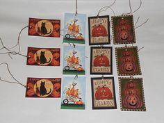 12 Primitive Whimsical Hang Tags Gift Ties  Halloween