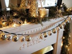 "This bright holiday mantel delivers holiday cheer and a handmade touch with ornaments spelling out ""Merry Christmas. Merry Little Christmas, Noel Christmas, Primitive Christmas, Winter Christmas, Christmas Crafts, Christmas Decorations, Christmas Ornaments, Christmas Balls, Glass Ornaments"