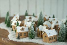 DIY: hübscher Adventskalender aus kleinem Papier-Weihnachtsdorf Deko-Kitchen