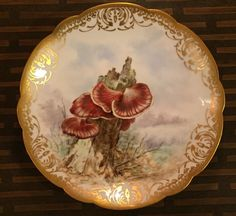RARE ANTIQUE FRENCH LIMOGES D&C HAND PAINTED MUSHROOM PLATE, FISTULINA HEPATICA #Limoges