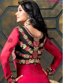 Rewrite your fashion statement with this marvellous Red Georgette Floor Length Anarkali Suit. Encrafted with Sequins, resham embroidery and patch work. Resham Thread embroidery on york, neck and border makes this suit stunning. This Awe-inspiring anarkali suit comes with matching nazneen dupatta and shantoon bottom. For more details whatsapp us on +919915178418