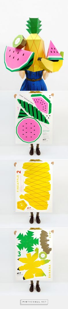 Giant Tropical Fruit Paper Sculpture Kit | For amazing party & room deco, photo props and surprise presents. This is a make yourself kit and you'll need to cut, fold and glue to complete the 3D sculptures.