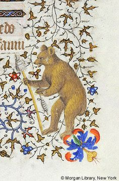 Bear holding distaff in right paw and spindle in left paw   Book of Hours   France, Paris   ca. 1420-1425   The Morgan Library & Museum