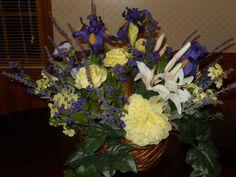 English Garden Design -Purple Iris,Yellow Rose, Casablanca Lily, Yellow Daisy, Pansies, Lavender