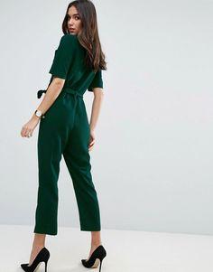 ASOS Wrap Jumpsuit with Self Belt - Green