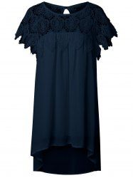 Plus Size Eyelash Lace Splicing Asymmetrical Dress in Deep Blue | Sammydress.com Mobile