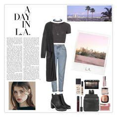 """""""A Day in L.A."""" by silly-stegosaurus ❤ liked on Polyvore featuring Topshop, Monki, Kara, NYX, Bobbi Brown Cosmetics, NARS Cosmetics, TheBalm, Too Faced Cosmetics, Hourglass Cosmetics and L'Oréal Paris"""