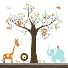 Nursery Jungle Wall Decal-Animals,Lion,Giraffe,Owl,Elephant. $160.00, via Etsy.