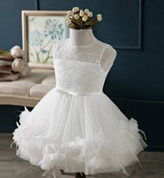 White Lace Dress-Exquisite Design White Lace Little Girl Dress Perfect for communion, baptism, wedding or any special occasion Available from 2 - 12 years Material: Soft tulle mesh, cotton, satin, lace