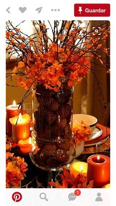 Thanksgiving decorations - Leaves and orange candles make for the perfect intimate Thanksgiving table setting. Thanksgiving decorations - Leaves and orange candles make for the perfect intimate Thanksgiving table setting. Fall Crafts, Holiday Crafts, Fall Table Centerpieces, Fall Table Decorations, Table Arrangements, Diy Thanksgiving Centerpieces, Wedding Centerpieces, Fall Flower Arrangements, Thanksgiving Tablescapes