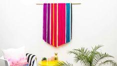 boho yarn wall hanging color blocking