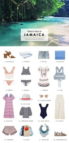 What to Pack for Jamaica: Outfit Ideas & Packing List Jamaica packing guide for people traveling to the Caribbean. Click through for travel advice on what to wear, tropical / beach outfit inspiration and a packing checklist. Packing List For Vacation, Packing Tips For Travel, New Travel, Travel Advice, Travel Style, Packing Checklist, Packing Lists, Travel Ideas, Travel Hacks