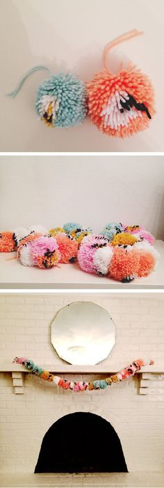 Cute and Soft Pom Pom Garland....Best DIY Garland Ideas To Try At Home. Its So Creatively Beautiful!! #diygarlandideas #diycrafts