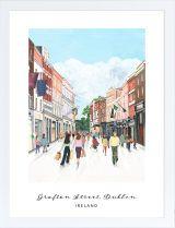 Grafton Street, Dublin, Ireland archival print Grafton Street, Shopping Street, Grand Entrance, Dublin Ireland, Pigment Ink, Beautiful Islands, Gouache, Vibrant Colors, Irish