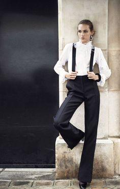 Black pants with suspenders