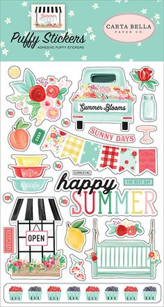 Take in a sip of summer when you're creating with the Summer Market Collection Puffy Stickers designed by Jen Allyson for Carta Bella Paper. Included in the Kawaii Stickers, Cute Stickers, Printable Planner Stickers, Aesthetic Stickers, Scrapbook Stickers, Happy Planner, Sticker Design, Paper Crafts, Journal