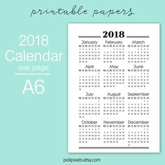 Check out this item in my Etsy shop https://www.etsy.com/listing/599645061/2018-one-page-year-calendar-digital-page