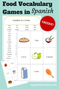 Free Spanish printables: Spanish vocabulary for food with ideas for activities. Spanish Lessons For Kids, Preschool Spanish, Spanish Teaching Resources, Spanish Games, Elementary Spanish, Spanish Activities, Spanish Language Learning, Spanish Food, Spanish Practice