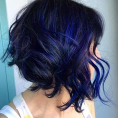 Black Angled Bob With Blue Highlights                                                                                                                                                                                 More