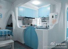 Sky blue kitchen