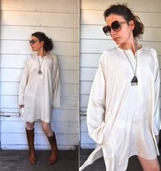 SILK Embroidered Tunic Ivory Silk Tunic / Top by LaDeaDeiSogni, $42.00