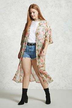 Forever 21+ - A semi-sheer woven kimono featuring an allover foliage print, an open-front,  3/4 dropped sleeves, front patch pockets, side splits, and a longline silhouette.