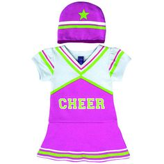 "Sozo Girls Purple/White Cheerleader Bodysuit Dress with Neon Green Accents and Hat - Sozo  - Babies""R""Us"