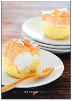 Little Lemon Meringue Pies - these delicious confections have a shortbread cookie crust & a creamy lemon center topped with a silky meringue...all in just a 15 minutes