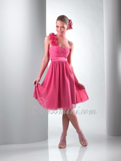 A-Line/Princess One Shoulder Knee-length Chiffon Prom Dress PD1D99 at Dressmini.com