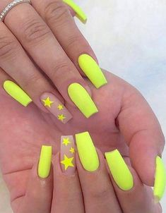 Best yellow Manicure Style for Long nails Nails Stunning Fall Season Nail Art Ideas for All Girls Neon Yellow Nails, Yellow Nails Design, Yellow Nail Art, Neon Nails, My Nails, Neon Nail Art, Rainbow Nails, Orange Nails, Coffin Nails Matte