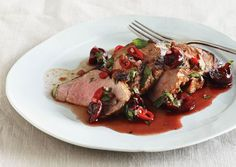 Grilled Pork Tenderloin with Cherry Salsa  by bonappetit: The sweet, sour, and piquant flavors of this cherry sauce come together as you grill the pork. Or make the sauce the day before. #Pork_Tenderloin #Pork_eith_Cherry_Salsa #bonappetit