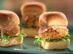 Crab Cake Sliders with Blood Orange Aioli Recipe : Jeff Mauro : Food Network - FoodNetwork.com