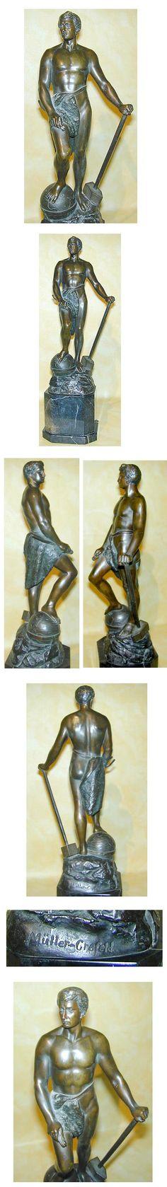 Adolf Müller-Crefeld ( 1863- ) großer Bronzeschmied auf Marmorsockel Höhe 51cm