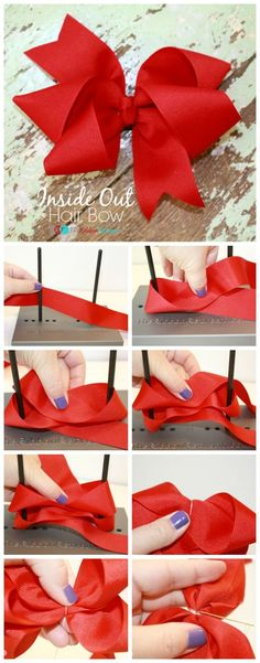 How to make hair bows seems like a challenging DIY project to take on. Hair bows make great hair accessories. Usually younger kids only Diy Ribbon, Ribbon Crafts, Ribbon Bows, Ribbon Flower, Making Hair Bows, Diy Hair Bows, Baby Bows, Baby Headbands, Flower Headbands