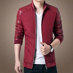 Spring Jackets and Coats Casual Stand Collar PU Leather Patchwork Clothing For Men