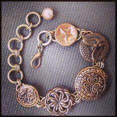 Vintage military button adjustable bracelet. $62. Find D. Wallace Designs on Facebook.  #jewelry #fashion #clothes #design #vintage