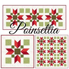 """This is the fourth quilt block for the """"Have a Jolly Little Christmas"""" quilt along!  All the details for the""""Have a Jolly Little Christmas"""" quilt along are onthis page.         Poinsettia is a 12"""" q"""
