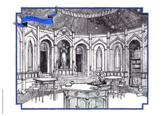 Bloomsbury Ravenclaw common room illustrated by Levi Pinfold Arte Do Harry Potter, Harry Potter Anime, Harry Potter Hogwarts, Ravenclaw, Harry Potter Anniversary, 20th Anniversary, Secret House, Isometric Art, Hogwarts Houses