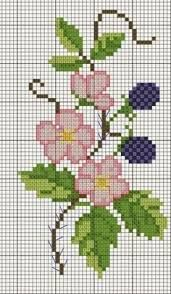 Flower and berries chart Cross Stitch Cards, Cross Stitch Borders, Cross Stitch Rose, Cross Stitch Flowers, Counted Cross Stitch Patterns, Cross Stitch Designs, Cross Stitching, Cross Stitch Embroidery, Embroidery Patterns