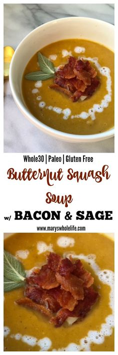 Whole30 and AIP Butternut Squash Soup with Bacon and Sage
