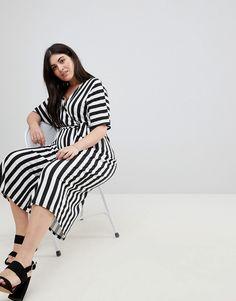 1b5ff812dfdb Boohoo Plus Stripe Culotte Jumpsuit - Plus Size Fashion