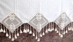 ECO Friendly Natural Cotton Curtain with Hand crochet Lace Wooden beads and Tassel#home decor#off white#curtain#housewares$35