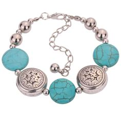Hot Jewelry Tibetan Silver Bracelet Turquoise Inlay Roundness Bead Adjust Bangle $47,42