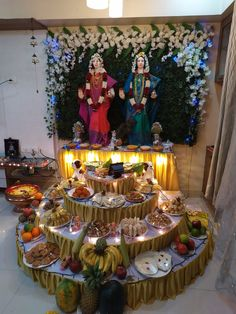Ganesh Chaturthi Decoration, Ganesh Chaturthi Images, Gauri Decoration, Ganpati Decoration Design, Ganesh Photo, Ganapati Decoration, Pooja Room Door Design, Pooja Rooms, Goddess Lakshmi