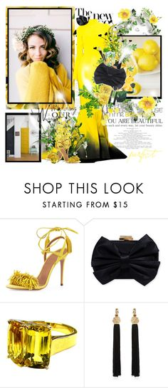 """""""Una rosa perfecta..."""" by purplecherryblossom ❤ liked on Polyvore featuring Stephane Rolland, Aquazzura, Franchi, Goshwara, Yves Saint Laurent, yellow, bow, wedding, gown and Myownstyle"""
