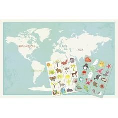 """Introducing our new 36x24 interactive world map (+ 40 stickers). The perfect piece to decorate with the provided stickers (animals, people, flora, fauna, nature landmarks), an activity that will spark conversation between your and your child about our earth, its importance and how to care for it.     Print is create on professional recycled card stock with earth-friendly ink, our print is eco- friendly as well as fun!     Product Details:    -36""""x24"""" poster and 40 reusable stickers.  -Made…"""