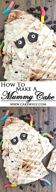 You just need white frosting and candies to make this cool and very easy MUMMY CAKE. Great for serving at Halloween parties and kids love it! From cakewhiz.com