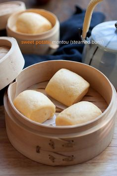 Sweet Potato Mantou - soft, pillowy and fluffy steamed buns are THE BEST! Make these sweet potato mantou with easy step-by-step guide. Steam Buns Recipe, Bun Recipe, Dim Sum, Asian Desserts, Asian Recipes, Chinese Desserts, Easy Delicious Recipes, Yummy Food, Easy Recipes